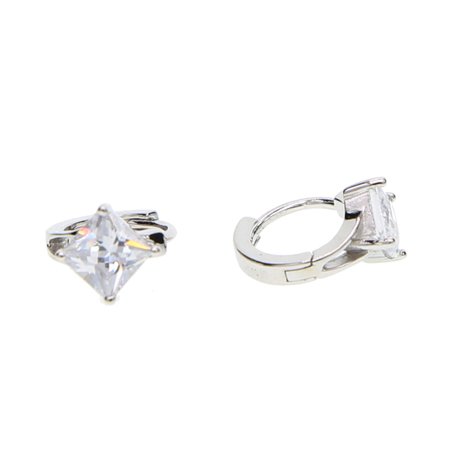 af9e7a692 100% 925 sterling silver fine jewelry drop shipping single stone sparking  bling AAA+ cubic zirconia circle silver cz earring