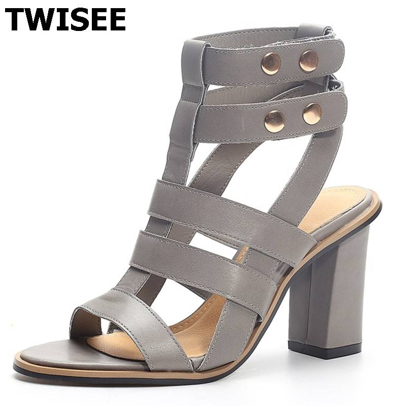 New Summer Lady Strappy Platform Block Heel Chunky Pure Buckle Leather Peep Toe Ankle High Sandals Women Gladiator Shoes stylish women s peep toe shoes with buckle strap and chunky heel design