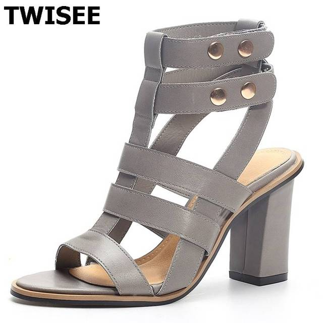 4346ba924dd New Summer Lady Strappy Platform Block Heel Chunky Pure Buckle Leather Peep  Toe Ankle High Sandals