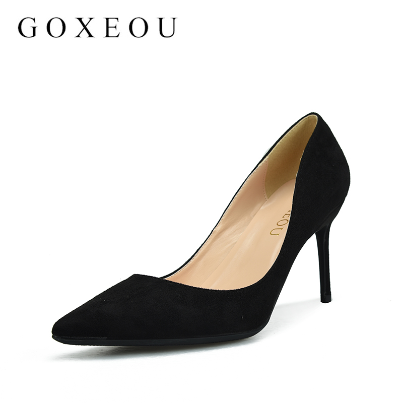 GOXEOU Fashion 5 colors Women Pumps Elegant High Heel Women's Pumps Pointed Toe Ladies Shoes Woman Heels 8cm creativesugar elegant pointed toe woman