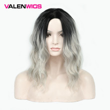 ValenWigs Long Wavy Ombre Black Silver Grey Wigs For Women 16 Inch Middle Part Fashionable High Temperature Synthetic Fiber Wig