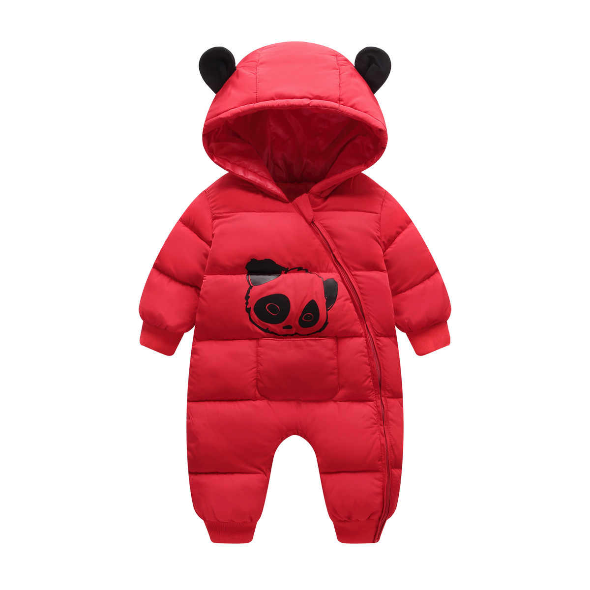 89f0e865c ... Baby boy girl Clothes 2018 New born Winter Hooded Rompers Thick Cotton  Outfit Newborn Jumpsuit Children ...