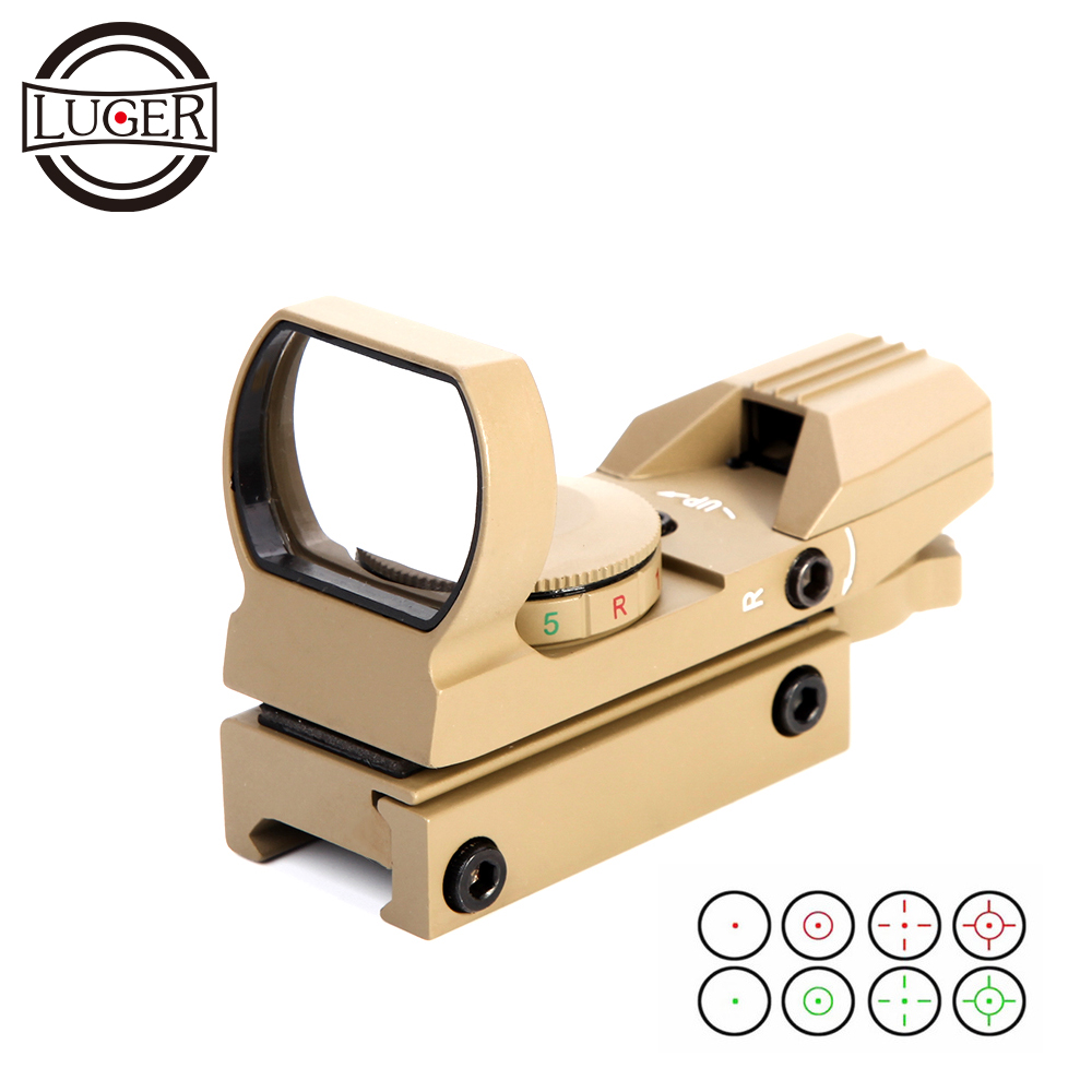 LUGER Hunting Optics Riflescope Holographic Red Dot Sight Reflex 4 Reticle Tactical Scope 20mm Rail Collimator Sight For Gun