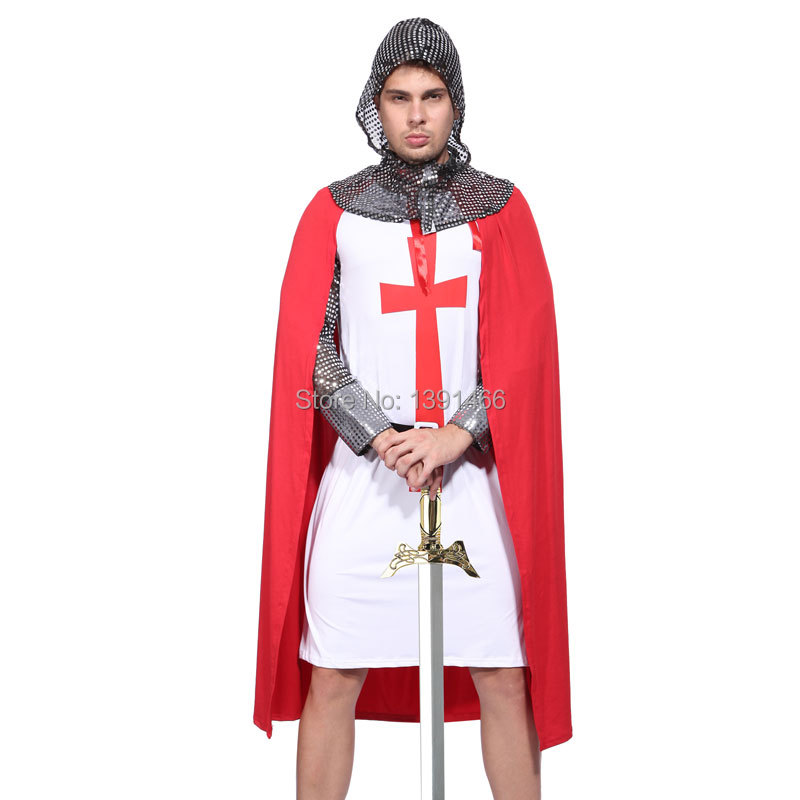 Mens Red Richard the Lion Heart Medieval Knight Fancy Dress Costume Outfit