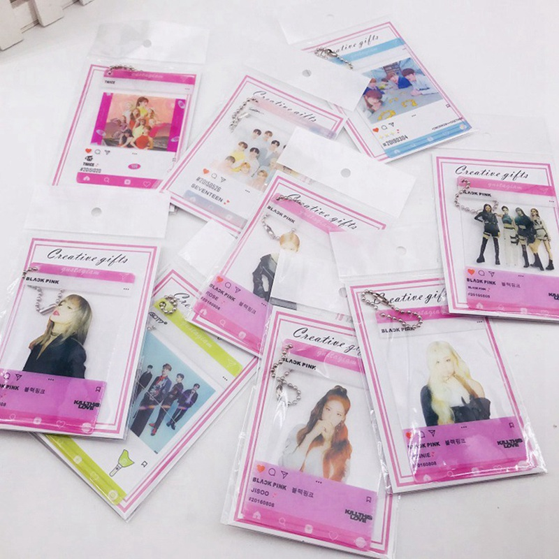 1 Pcs K-pop BLACKPINK TWICE GOT7 TXT SEVENTEEN PVC Transparent Hanging Chain Photo Card New Album Photocard Fans Collection Gift