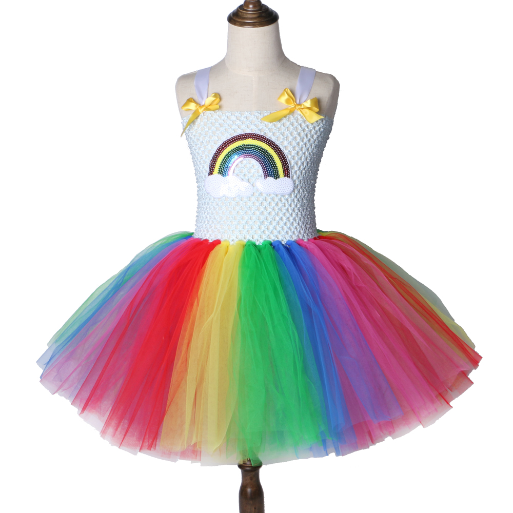 Children Girls Rainbow Tutu Dress Tulle Princess Party Dress Girls Clothes Fancy Dresses Kids Halloween Christmas Costume 2-12Y ariel inspired girls tutu dress tulle princess little mermai cosplay tutu dresses for girls kids halloween party costumes 2 12y