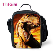 Thikin Casual Jurassic World Pattern Lunch Bags for Teen Boys Fashion Portable Cooler Box Cartoon Tote Picnic Pouch