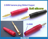100 ADET silikon için Altın 2mm Banana Fiş 2.0mm muz soket Binding Post Sondalar