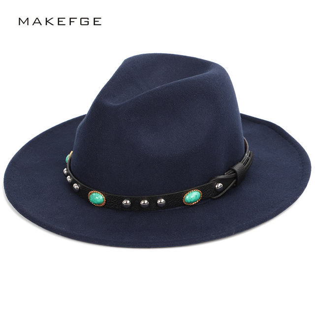 6e669b02f US $8.01 49% OFF|Gemstone Decoration Solid Color Fedoras Autumn Winter  Men's Vintage Hat Women's Felt Hat Large Size Big Visor Wool Classic Top-in  ...