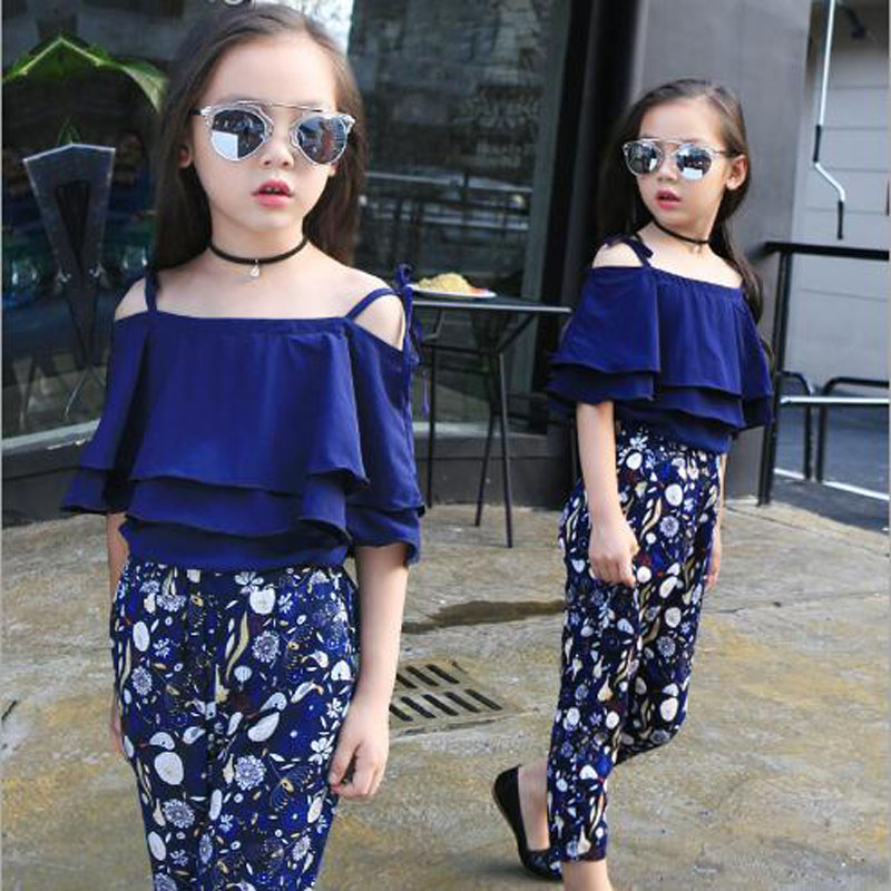 Kids clothes girls sets summer Sling shirt+Ankle-lenght pants kids fashion clothes sets for 5-15 children outwear tee tops girls