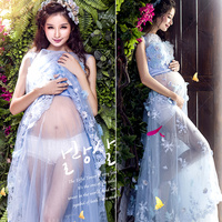 women Blue Maternity Photography Props Lace Dress Elegant Fancy Pregnancy Photo Shoot Studio Clothing Sweet Gift Flower