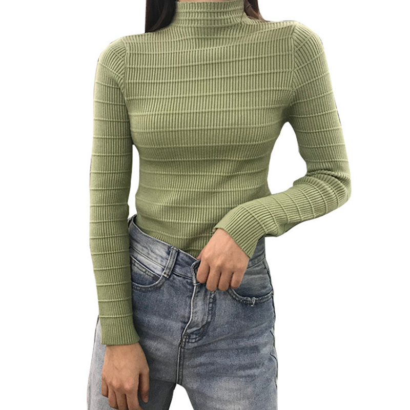 Gkfnmt 2019 Women Sweater High Elastic Solid Turtleneck Fall Winter Fashion Sweater Women Slim Sexy Hight Knitted Pullovers