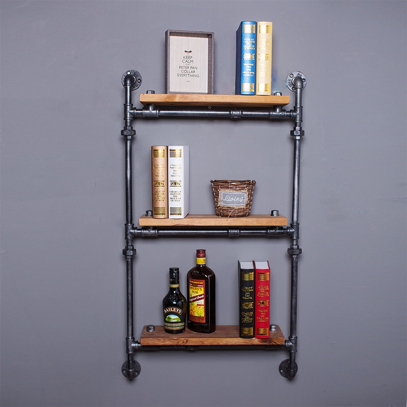Find Joy Wooden Industrial Pipe Wall Shelves Creative Home Decoration Vintage Hanging Organizer Wood Storage Holders FJ040305