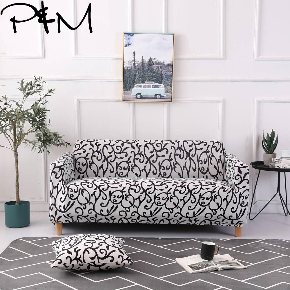 P&M Black and white pattern Print Stretch Sofa cover