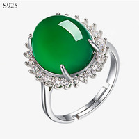 Chrysoprase Genuine Real Pure Solid 925 Sterling Silver Rings For Women Gem Stone Cubic Zircon Wedding