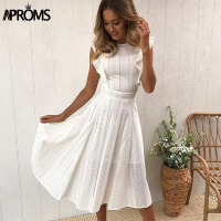 Aproms Elegant Ruffle White Lace Hollow Out Dress Women 2019 Summer Sleeveless Party Dresses Knee Length Blue Sundresses Vestido