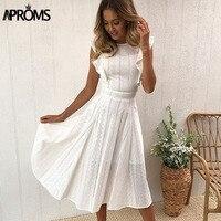 Aproms Elegant Ruffle White Lace Hollow Out Dress Women 2018 Summer Sleeveless Party Dresses Knee Length Blue Sundresses Vestido