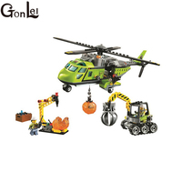 GonLeI 10640 Bela City Series Volcano Supply Helicopter Geological Prospecting Building Block Bricks Toys Gift For 60123