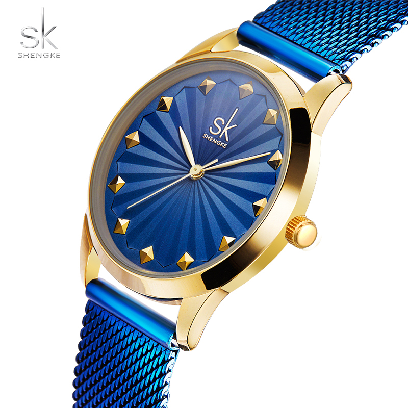 Shengke Fashion Women Quartz Wrist Watch Luxury Ladies Stainless Steel Mesh Band Bracelet Watch Female Elegant Dress Clock New top new fashion brand women lady luxury clock female stylish casual business elegant steel wrist quartz bracelet watch re024