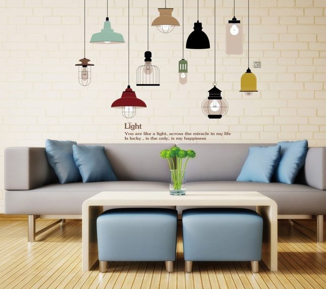 Online shop pendant lamp wall sticker vinyl stickers chandelier pendant lamp wall sticker vinyl stickers chandelier wall decal diy home decor mozeypictures Gallery