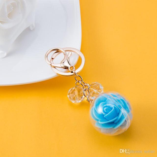 Rose Flower Pure Bulb Pendant Cute Women s Keychain Handbag Ornament Hollow  Crystal Rhinestone Gold Plated Key Ring Car Keyring fe7d27aacc