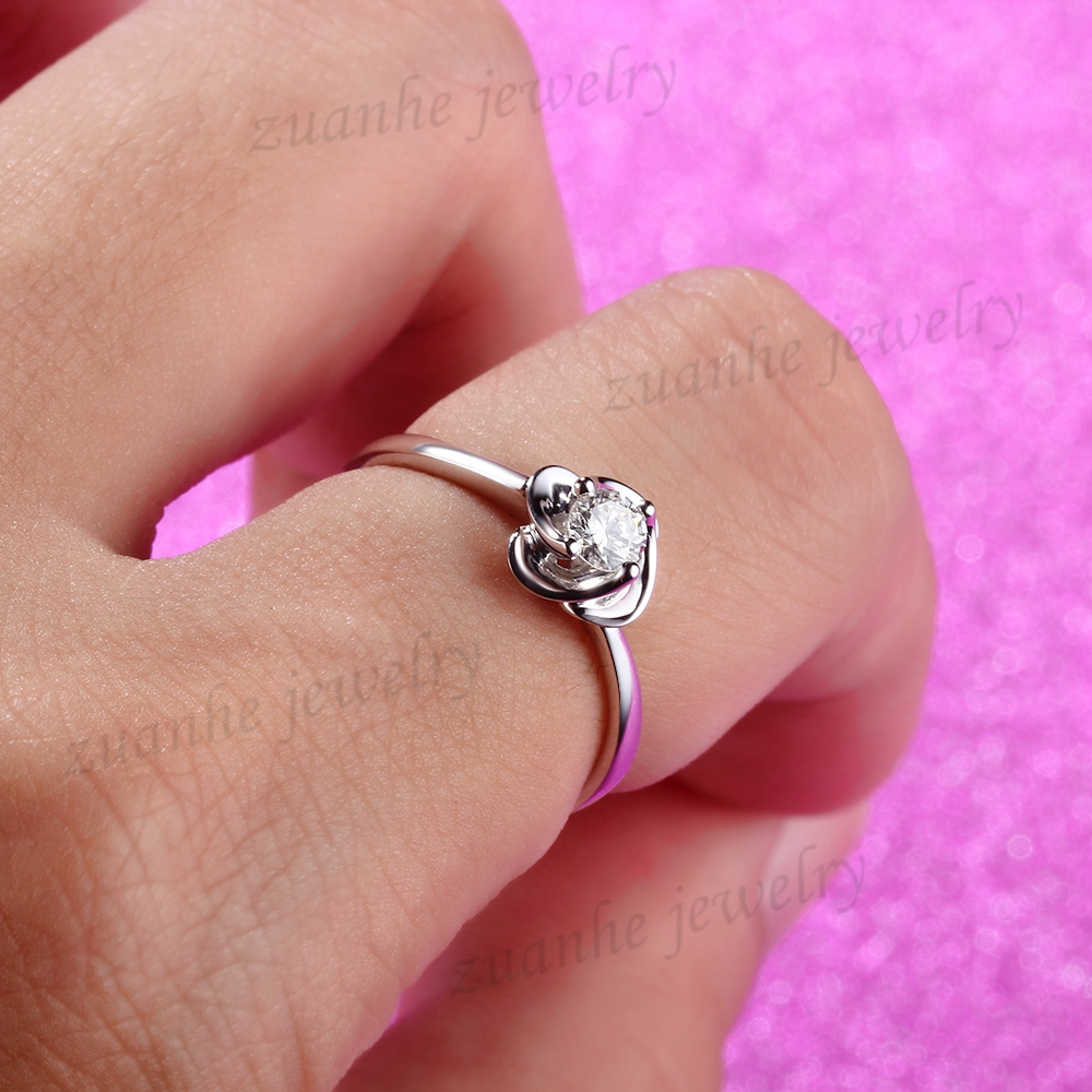 Solid 14k White Gold Cute 3.7mm Round White Cubic Zirconia ...
