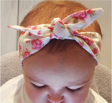 Elastic Kids Flower Rabbit Ears Headband Elastic Cotton Wrap Elastic Turban Headwear Kids Hair Accessories EASOV