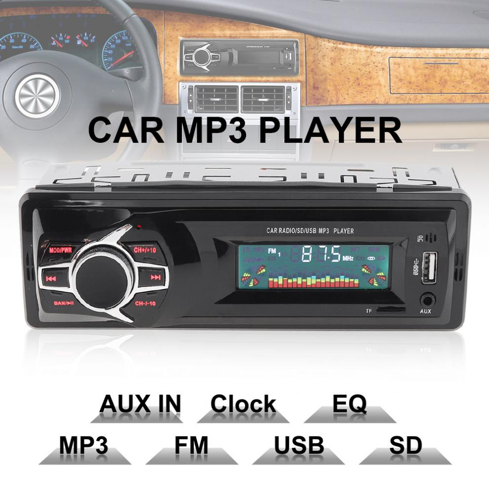Universal 12V LCD Display Car Radio MP3 Player Vehicle Stereo Audio In-Dash Aux Input Receiver Support TF/USB/SD+Remote Control