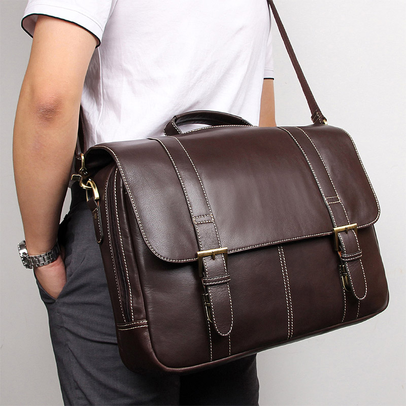 Nesitu Vintage Chocolate Genuine Leather Men Briefcase Messenger Bag Business Travel Bag 14'' 15.6'' Laptop Male Portfolio M7396