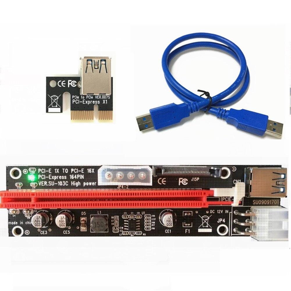 US $1318 95 |500set PCI E PCI E Express 1X to 16X Riser Extender Card SATA  15 Pin 6 Pin 4 PIN 3 Power Supply LED light display 009 For mining-in