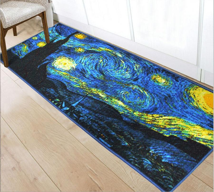 Polyester Washable Magnetic Tape Non Slip Floor Mat Carpet Indoor Entrance  Door Floor Doormat Living Room Bedside Porch Rugs