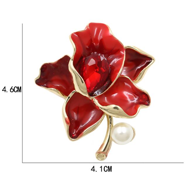 Kvetinová brošňa s perlou 4farby Enamel Flower Brooch Pearl 4colors