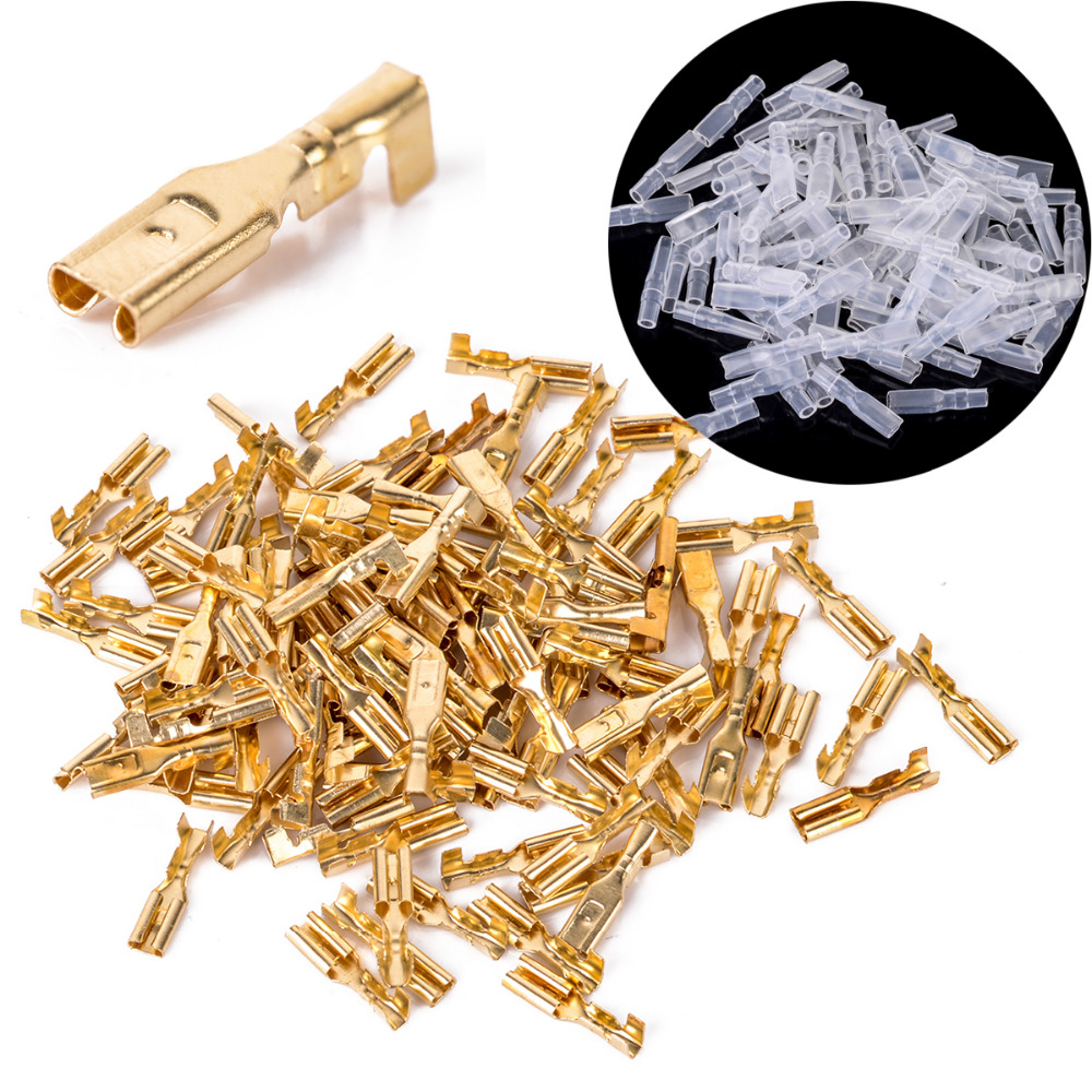 100pcs 2.8mm Female Spade Connectors Mayitr Brass Crimp Terminals with Insulating Sleeve 22-16AWG
