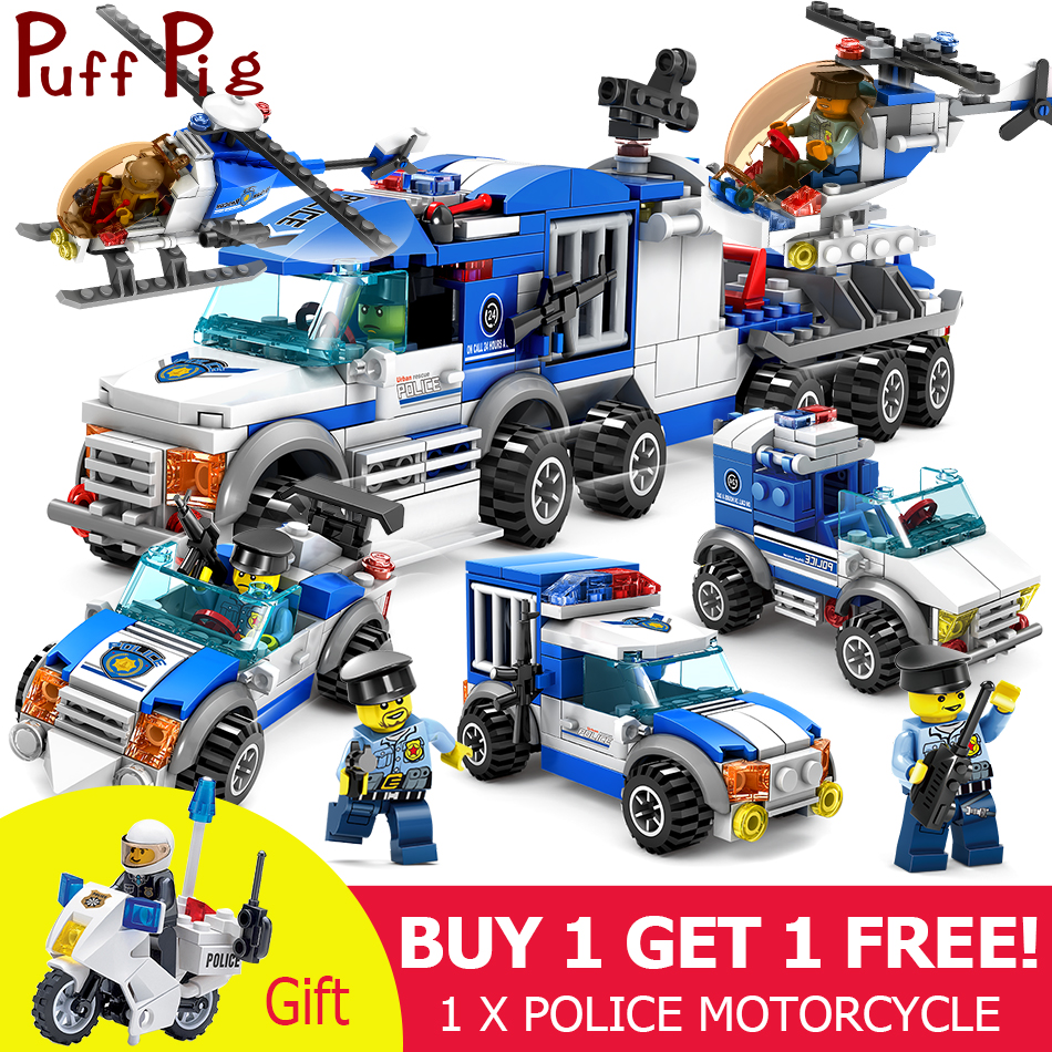Stadt Polizei Serie Autos Lkw Hubschrauber Modell Bausteine Set Kompatibel Legoingly Stadt Figuren Waffe Spielzeug Für Kinder