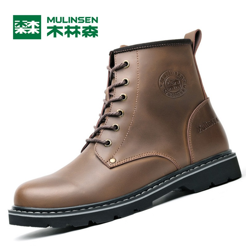 Mulinsen Brand New Fall/Winter Men Sports Hiking Shoes Cowhide Sport Shoes Wear Non-slip Sport Outdoor Sneaker Q270619-1 mulinsen brand new winter men sports hiking shoes inside keep warm sport shoes wear non slip outdoor sneaker 270622
