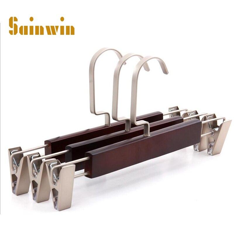 Sainwin 10pcs/lot 27.8cm adult wooden clothes rack wood hanger pants clip wooden trousers rack