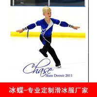 blue boys ice skating dress high quality figure dress for boys men ice skating clothing custom free shipping