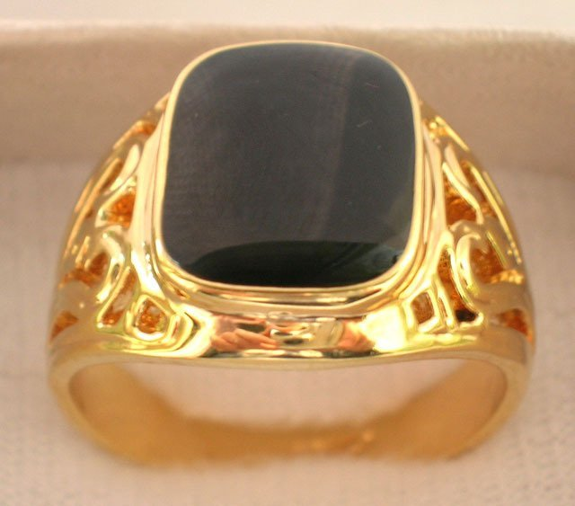 Free shipping ; Black Onyx 18K GP Yellow Gold  Men's Ring; Size:8-11.Style free collocation.3  a preferential prices,