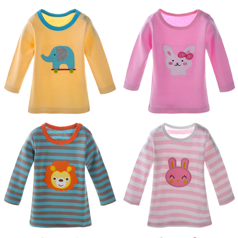 3\4\5 pcs/pack new 2017 Girls Boys Long Sleeve 100% Cotton T-shirt Baby & Kids tops tees cartoon o-neck  toddler infant clothes