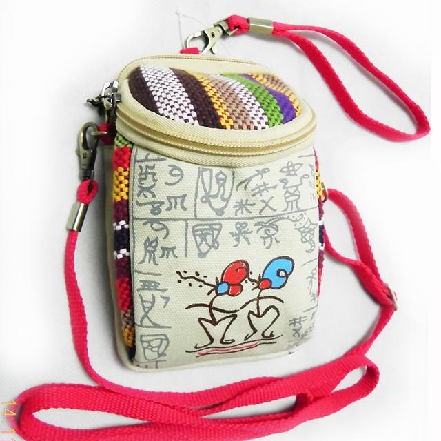 Women Makeup Messenger Canvas Handbag New Casual DongBa Character Ethnic Purse Handmade Colorful Rainbow Cloth Girl Gift 019 Bag