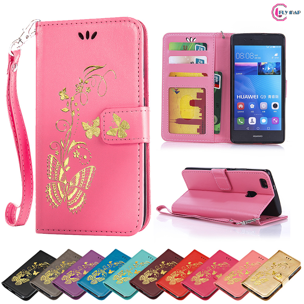 Flip Case for Huawei P9 Lite P9Lite VNS-L21 VNS-L31 Butterfly Case Wallet Phone Leather Cover for Huawei P 9 Lite VNS L21 L31