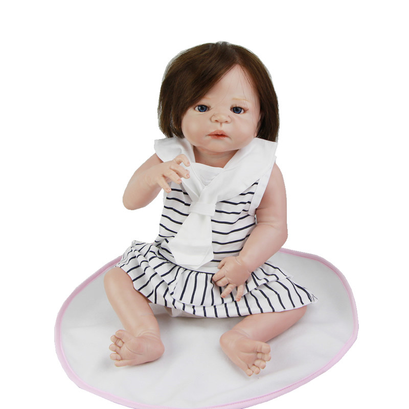 23 Inch Lifelike Girl Doll Reborn Baby Full Silicone Vinyl Realistic Princess Dolls Rooted Human Hair Babies Toy With Pacifier new arrival 23 inch lifelike reborn girl baby doll full silicone vinyl realistic princess dolls kids birthday christmas gift