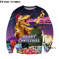 PLstar Cosmos Christmas Long Sleeve Sweatshirts Christmas Gift Funny Dinosaur Print 3D Sweatshirt Men Women Crewneck