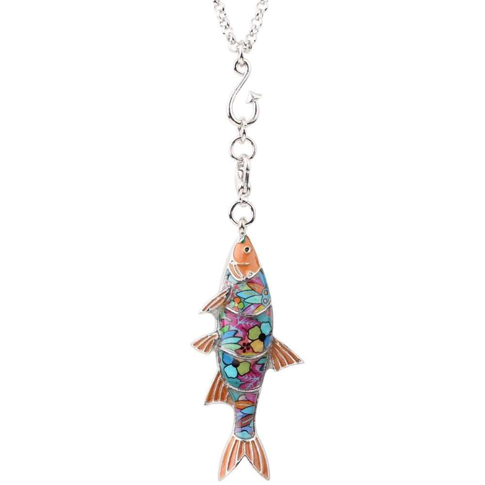 Bonsny Enamel Alloy Ocean สัตว์ปลาน้ำจืดสร้อยคอสร้อยคอสร้อยคอสร้อยคอสร้อยคอ Choker เครื่องประดับแปลกใหม่สำหรับผู้หญิงของขวัญ Party