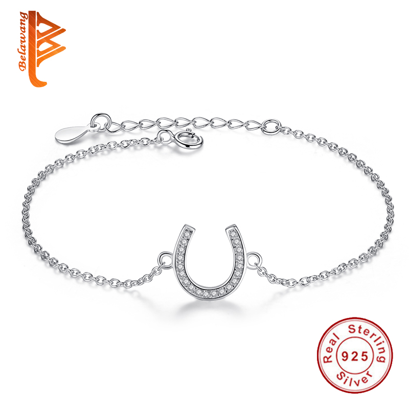 Genuine 100% 925 Sterling Silver Horseshoe U Shape Chain Link Women Bracelet Crystal CZ Bracelet Jewelry Gift