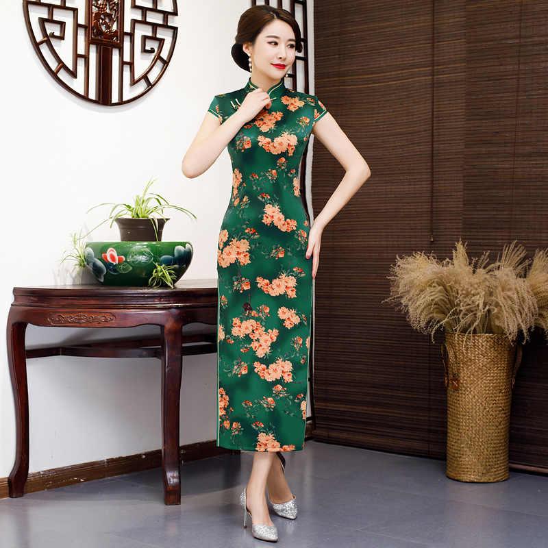 2019 אביב Cheongsam אופנה בסגנון הסיני קצר שרוול שמלת נשים זהורית Qipao Slim מסיבת שמלות קיץ ליידי Vestido S-5XL
