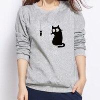 New Harajuku Women Hoodies Sweatshirts Cat And Fish Printed Casual Pullover Women Autumn Winter Fleece Sweatshirts