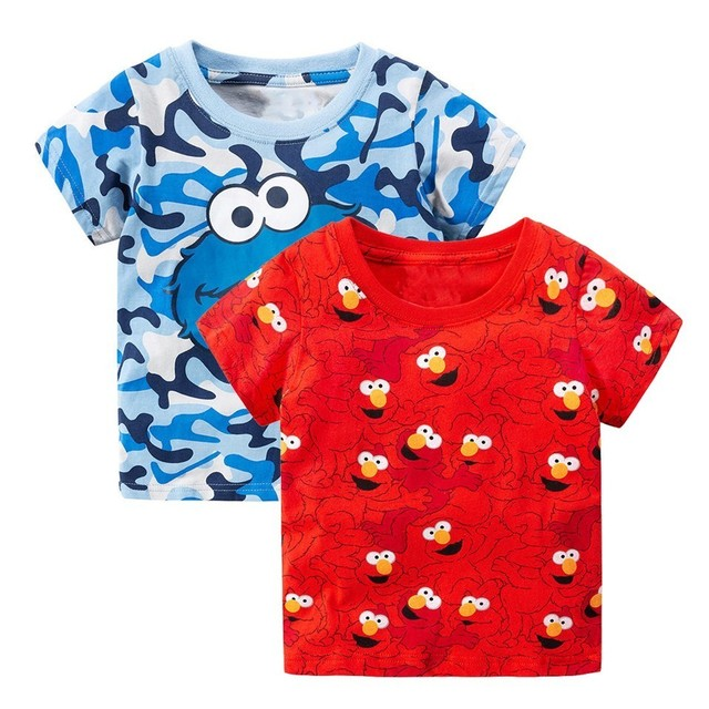 2pcs Sesame Street Elmo Print Baby Boys Tees 2018 Brand Hot Summer