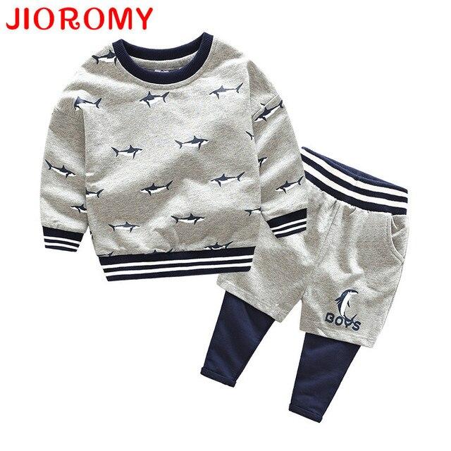 JIOROMY Boys Clothing Set 2017 Autumn Cartoon shark British Style Print Long-Sleeves Sports Shirt+Casual Pants Kids Clothes Suit