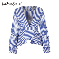 TWOTWINSTYLE 2017 Summer Women S Blouses Shirt Kimono Tops Striped Puff Sleeve Sexy Deep V Neck